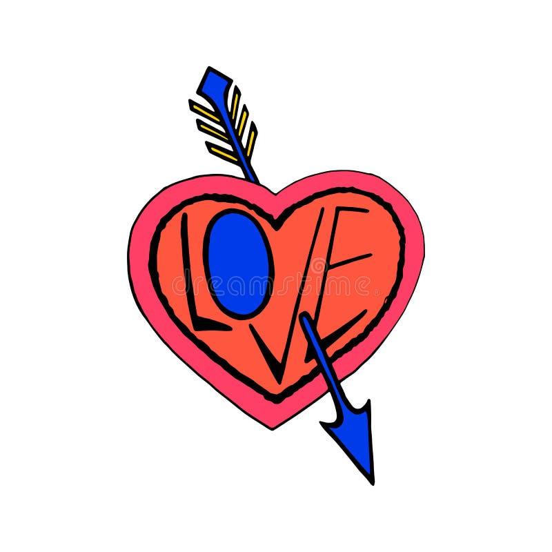 Perfurado por um símbolo do coração da seta, vetor tirado mão da cor do amor ilustração stock