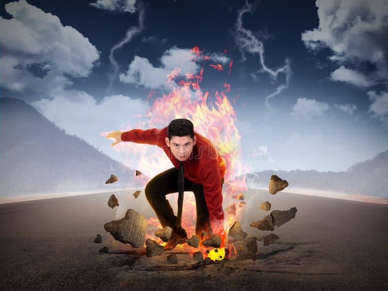 Perfurador do homem de negócio a estrada com poder de fogo azul ilustração stock
