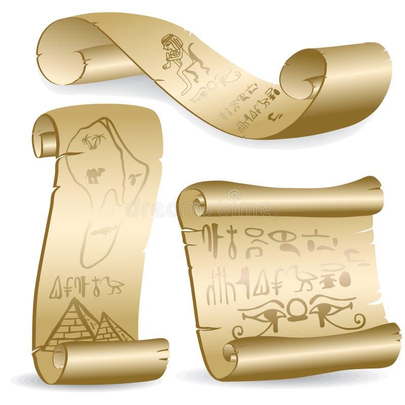 Pergamena con i geroglifici egiziani illustrazione vettoriale
