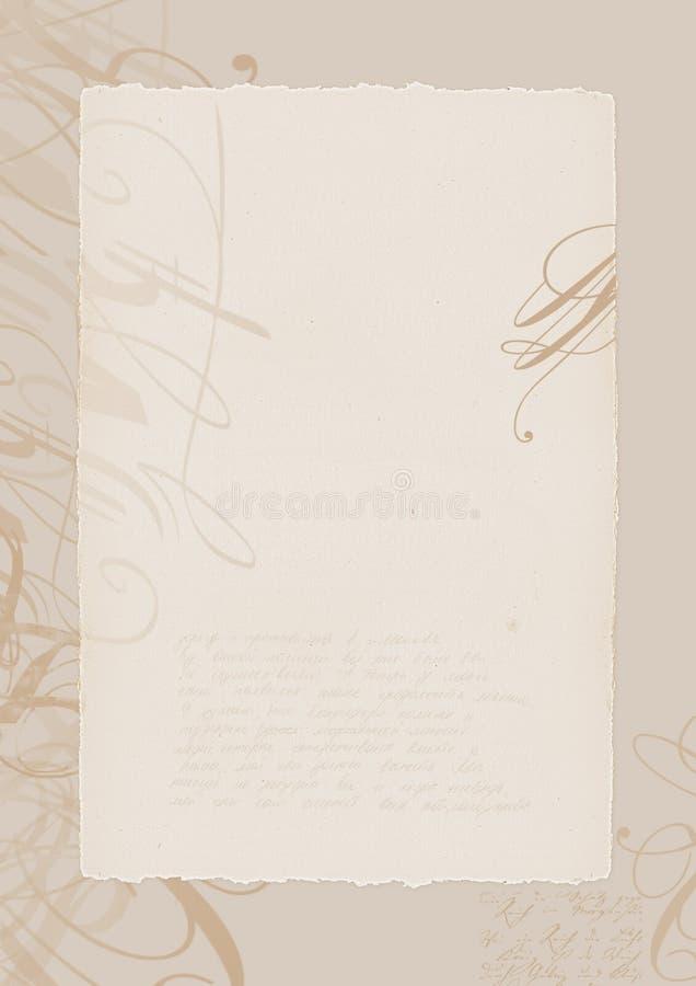 Pergamena con il disegno ed il blocco per grafici illustrazione vettoriale