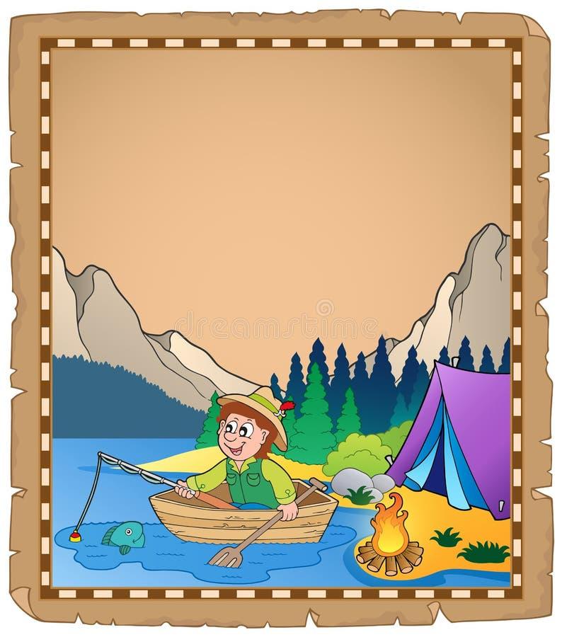 Pergamena con il pescatore 2 illustrazione vettoriale