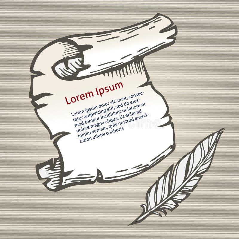 Pergamena con spazio per scrittura della penna di spoletta e del testo, illustrazione di vettore di schizzo illustrazione di stock