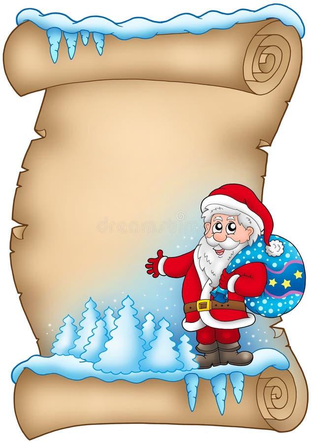 Pergamena di inverno con il Babbo Natale 4 illustrazione di stock
