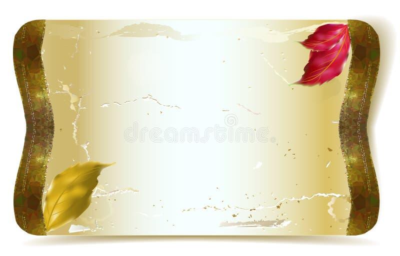 Pergamena graffiata annata con le foglie di autunno dell'acquerello illustrazione di stock