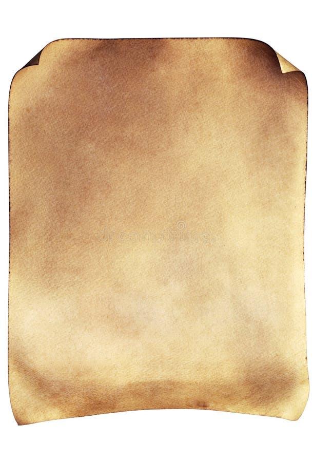 Pergamena invecchiata con i bordi rotolati immagine stock