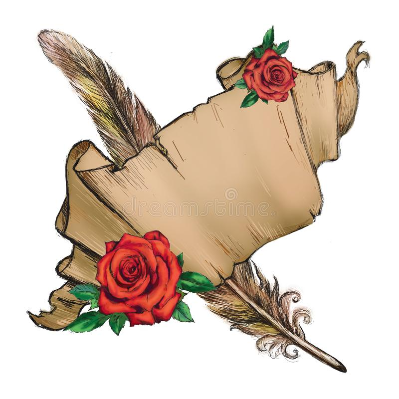 Pergament, Feder, rote Rose, Papierillustration stockfoto