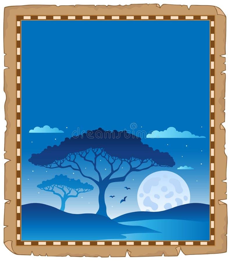 Pergament med savannahnattlandskap stock illustrationer