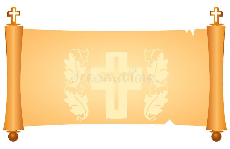 Pergament mit christlichen Symbolen stock abbildung