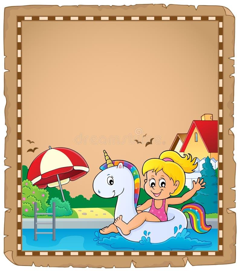 Pergament mit dem Mädchen, das auf Einhorn schwimmt vektor abbildung