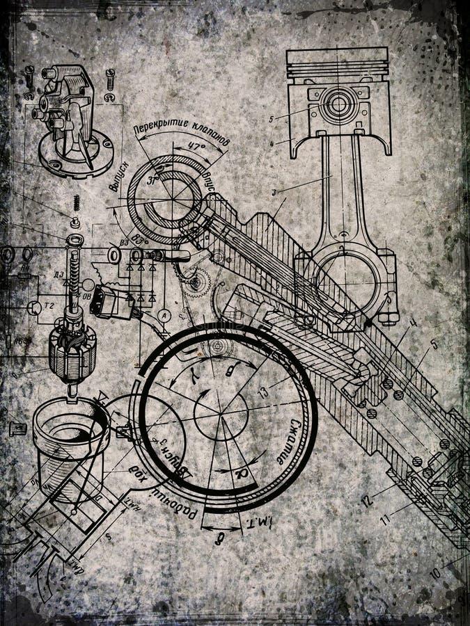 Pergamentblatt mit Lichtpause stockfoto