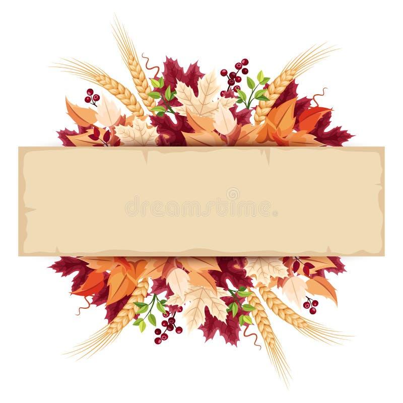 Pergamentkarte mit buntem Herbstlaub Vektor EPS-10 lizenzfreie abbildung