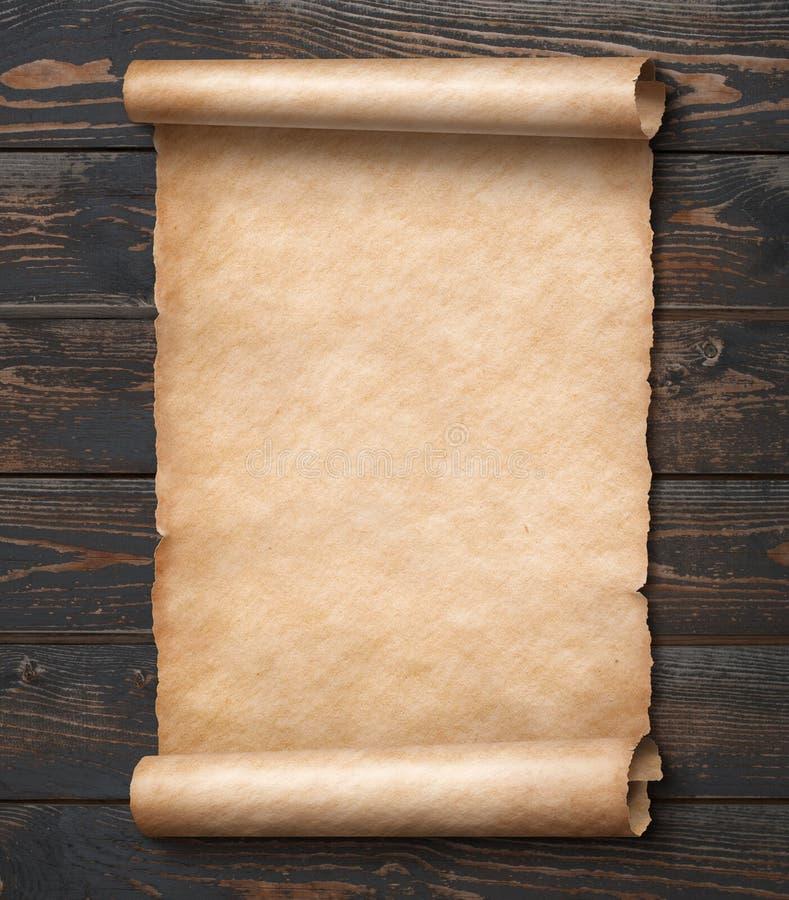 Pergamin na drewno ściany 3d ilustraci ilustracja wektor