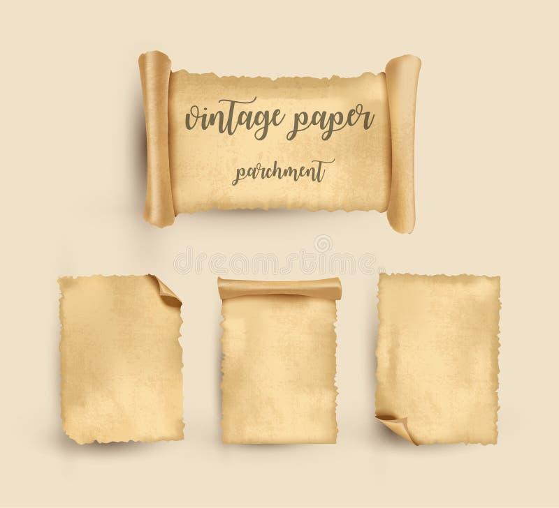 pergamin Rocznika stary papier również zwrócić corel ilustracji wektora ilustracja wektor