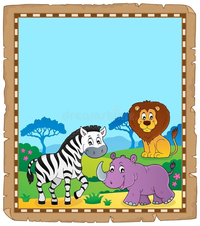 Pergamin z Afrykańskimi zwierzętami 6 royalty ilustracja