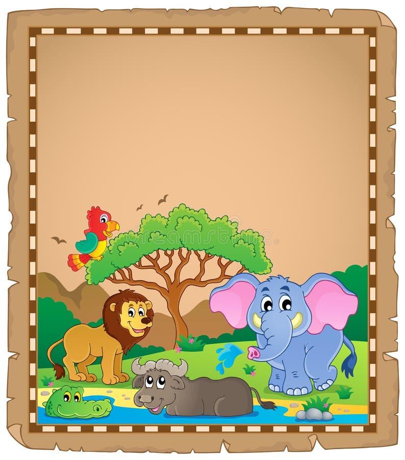 Pergamin z Afrykańskimi zwierzętami 2 ilustracji