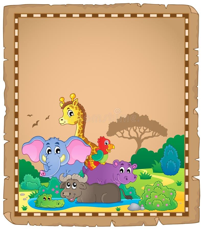 Pergamin z Afrykańskimi zwierzętami 1 ilustracja wektor