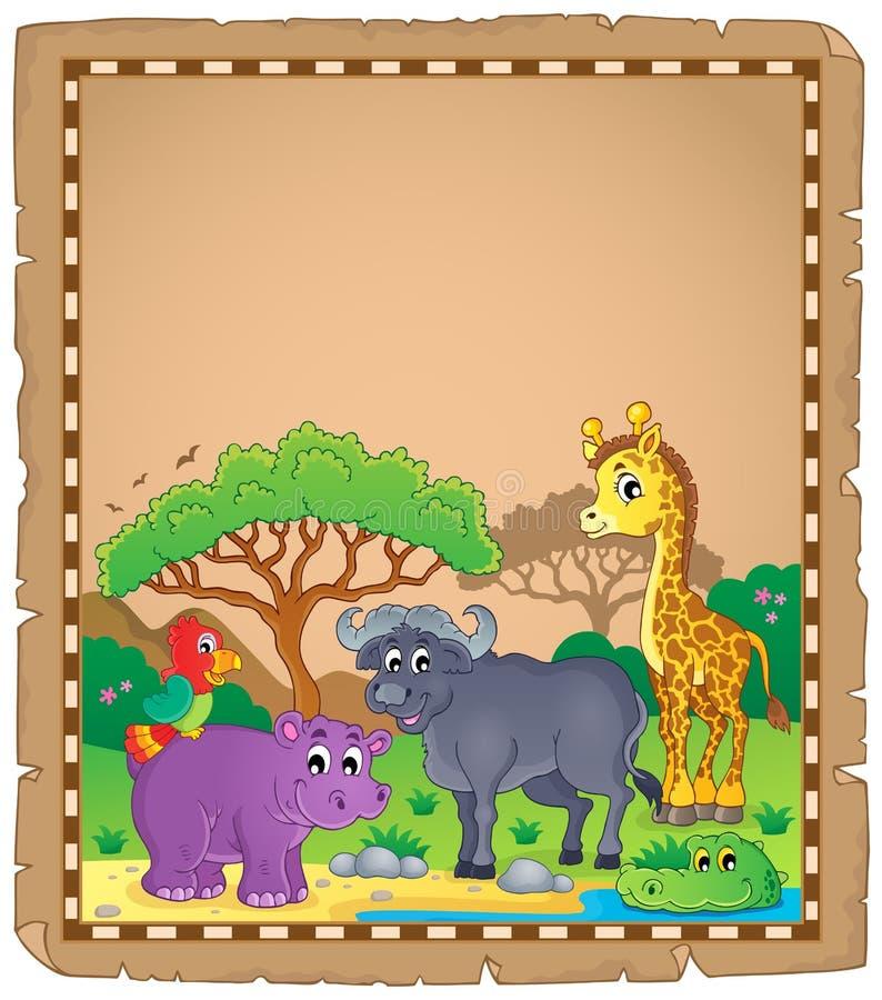 Pergamin z Afrykańskimi zwierzętami 3 royalty ilustracja
