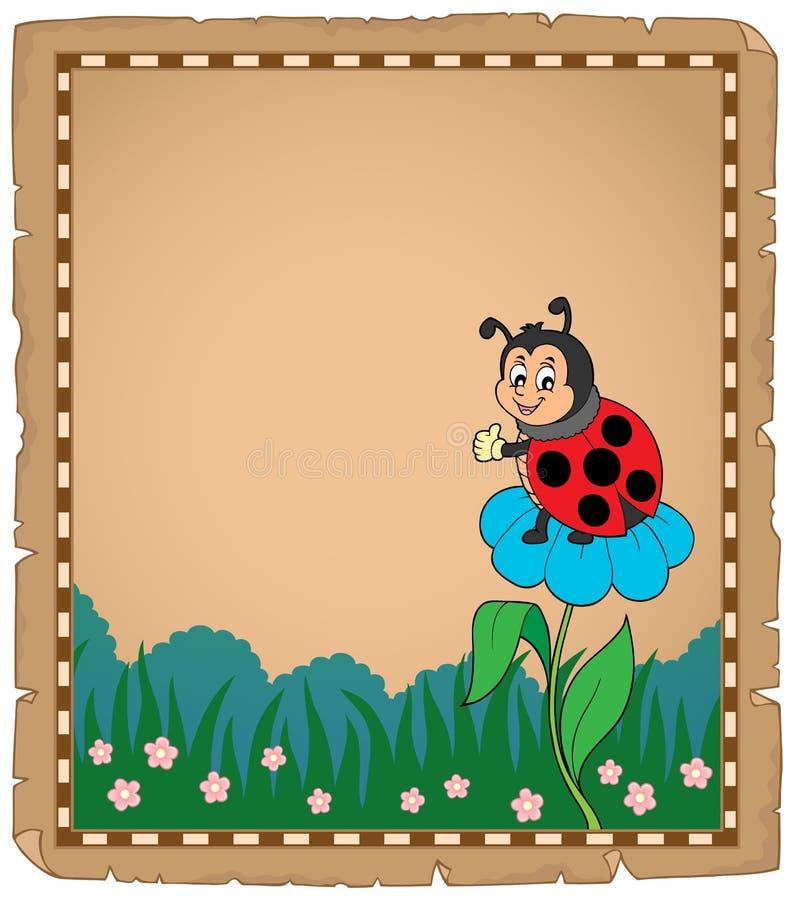 Pergamin z biedronką na kwiacie ilustracja wektor