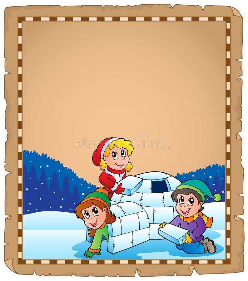 Pergamin z dziećmi i igloo ilustracji