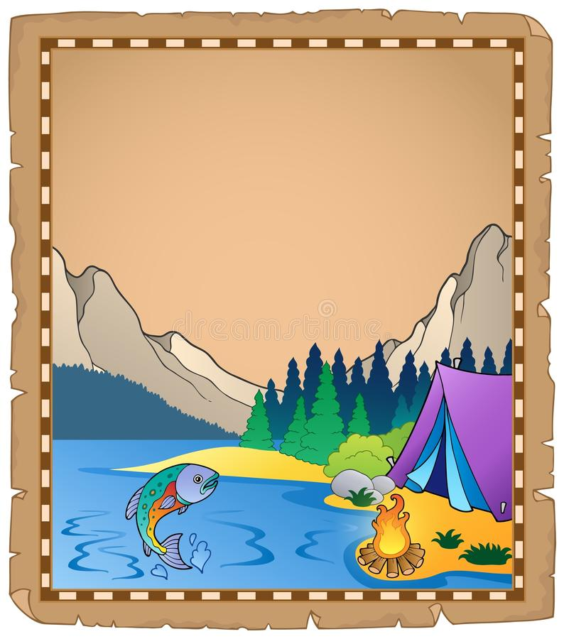 Pergamin z jeziorem 1 ilustracja wektor