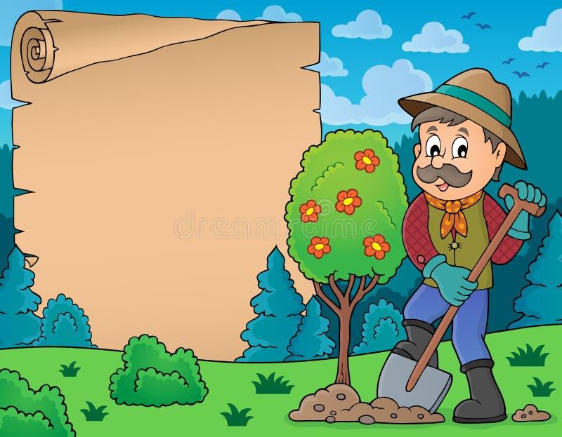 Pergamin z mężczyzna flancowania drzewem royalty ilustracja
