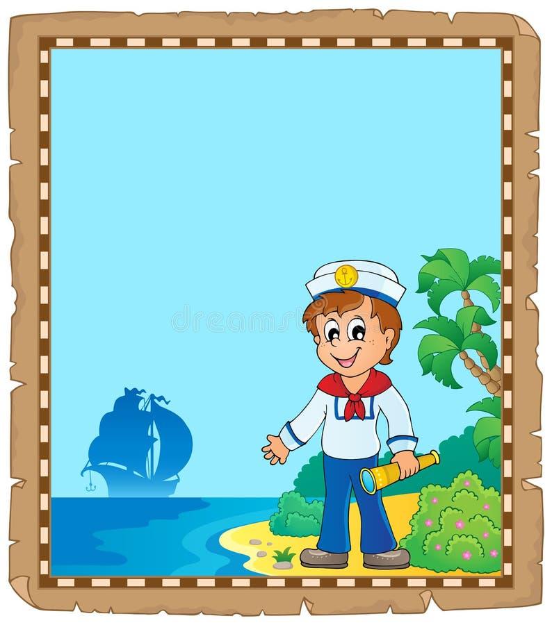 Pergamin z młodym żeglarzem royalty ilustracja