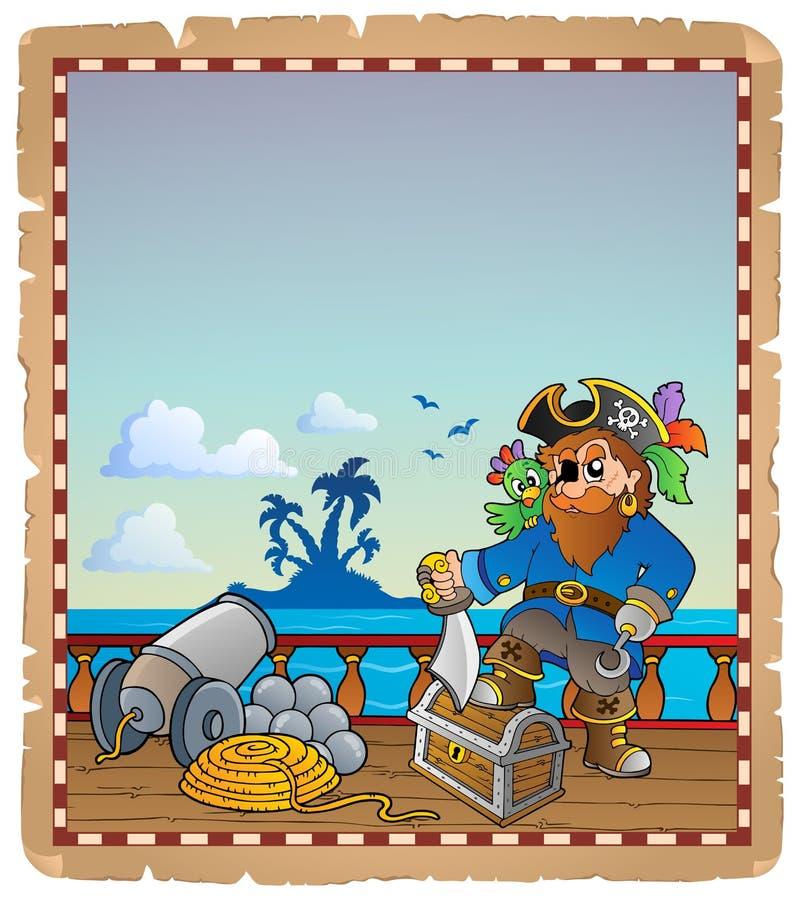 Pergamin z pirata statku pokładem 1 ilustracji