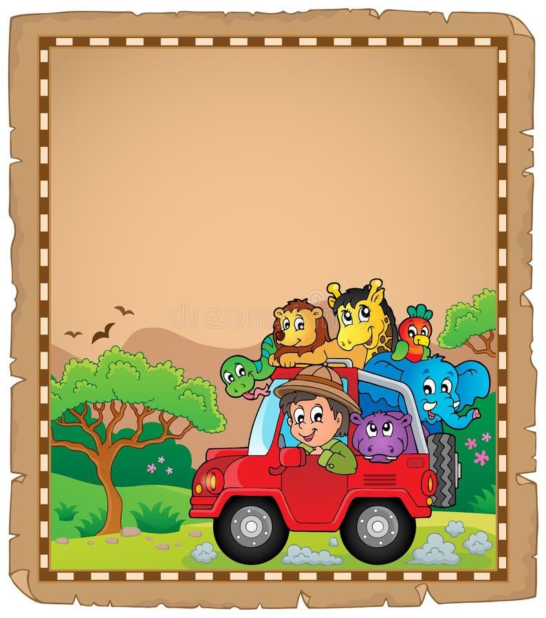 Pergamin z samochodem 3 i podróżnikiem ilustracja wektor