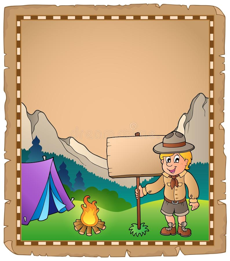 Pergamin z skautowską chłopiec i deską royalty ilustracja