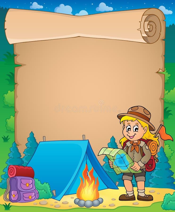 Pergamin z skautowskim dziewczyna tematem 3 royalty ilustracja