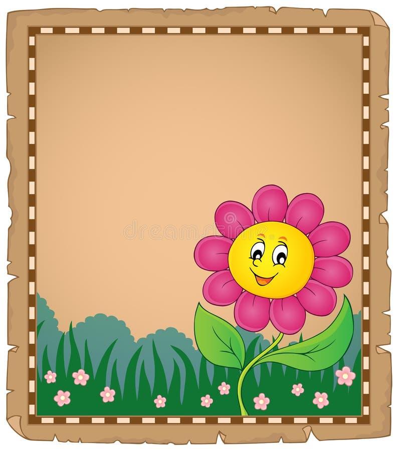 Pergamin z szczęśliwym kwiatem 2 royalty ilustracja