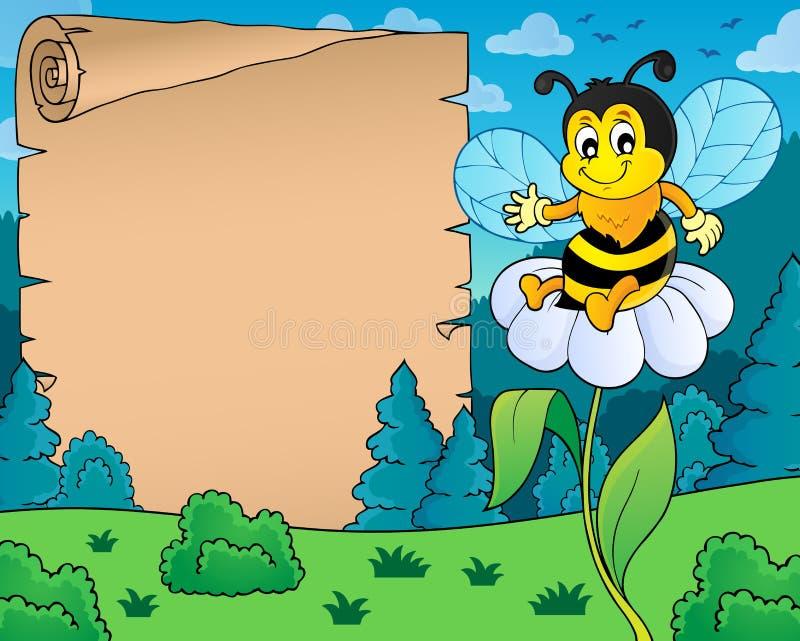 Pergamin z szczęśliwym pszczoła tematem 4 ilustracji