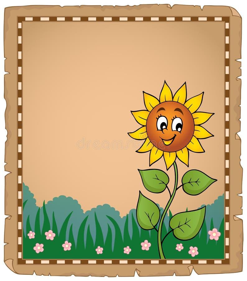 Pergamin z szczęśliwym słonecznikiem royalty ilustracja