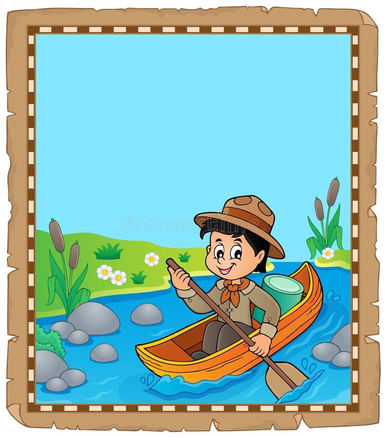 Pergamin z woda harcerza chłopiec ilustracji