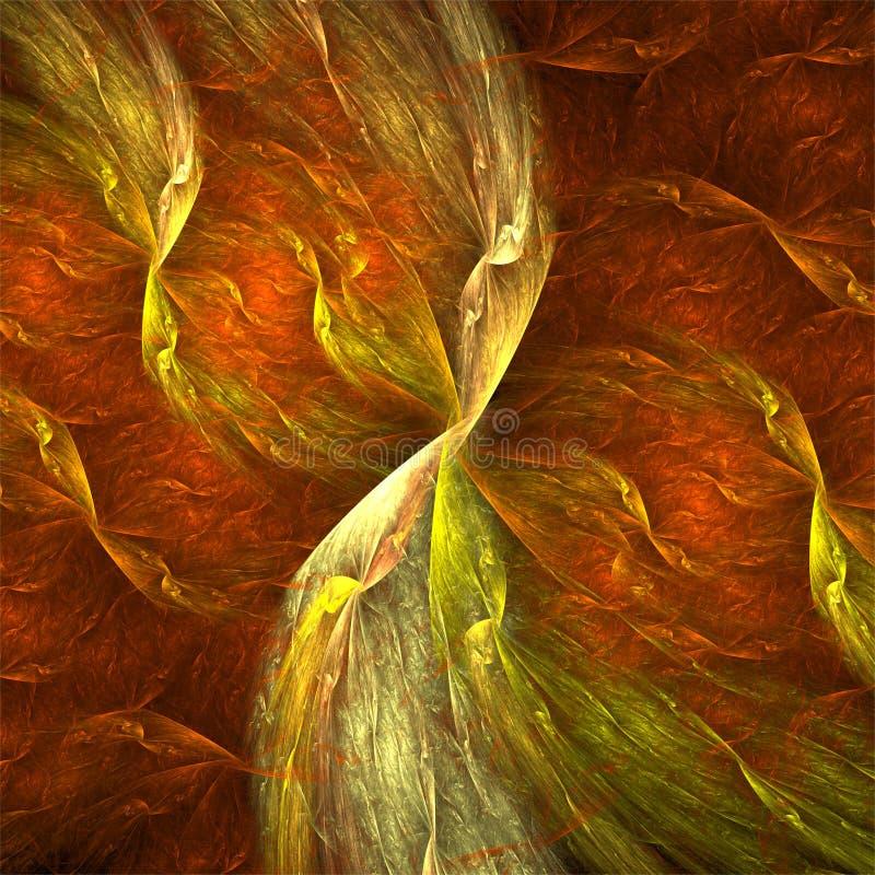 Pergaminho amarelo vermelho dos fractals do sumário da arte do fractal do computador de Digitas ilustração royalty free