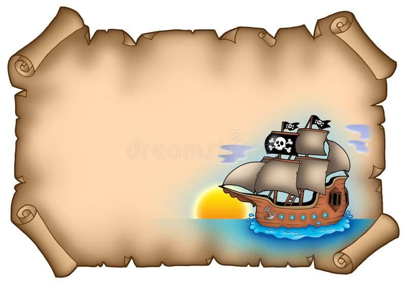 Pergaminho antigo com navio ilustração stock