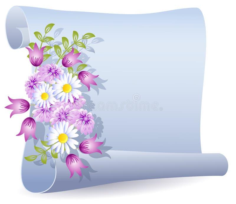 Pergaminho com flores ilustração do vetor