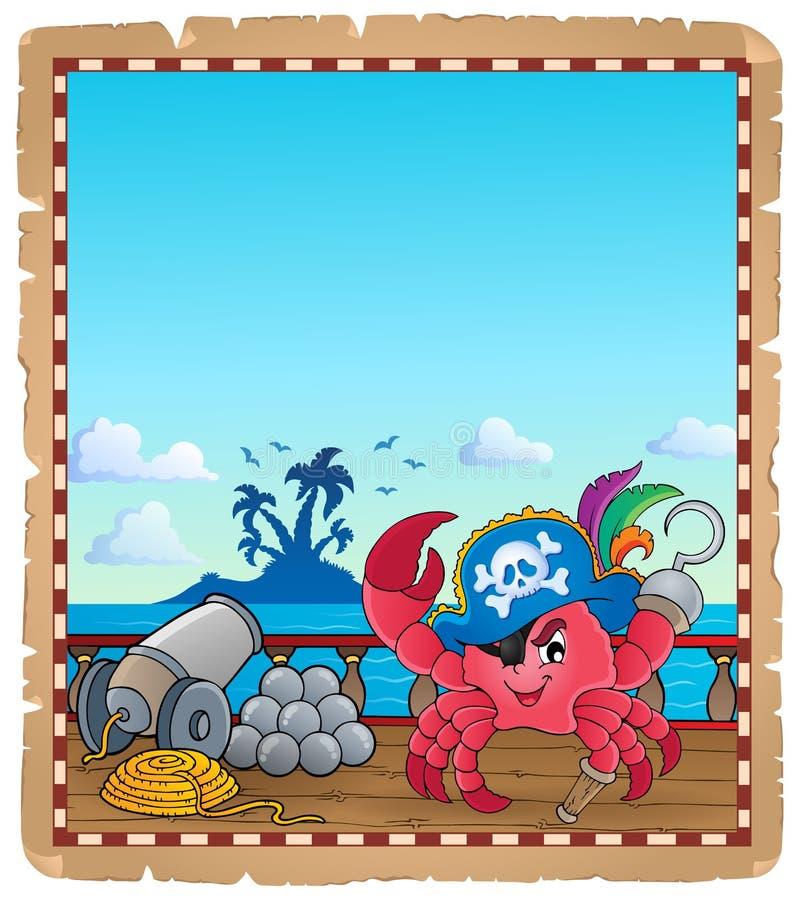 Pergaminho com o caranguejo do pirata no navio ilustração royalty free