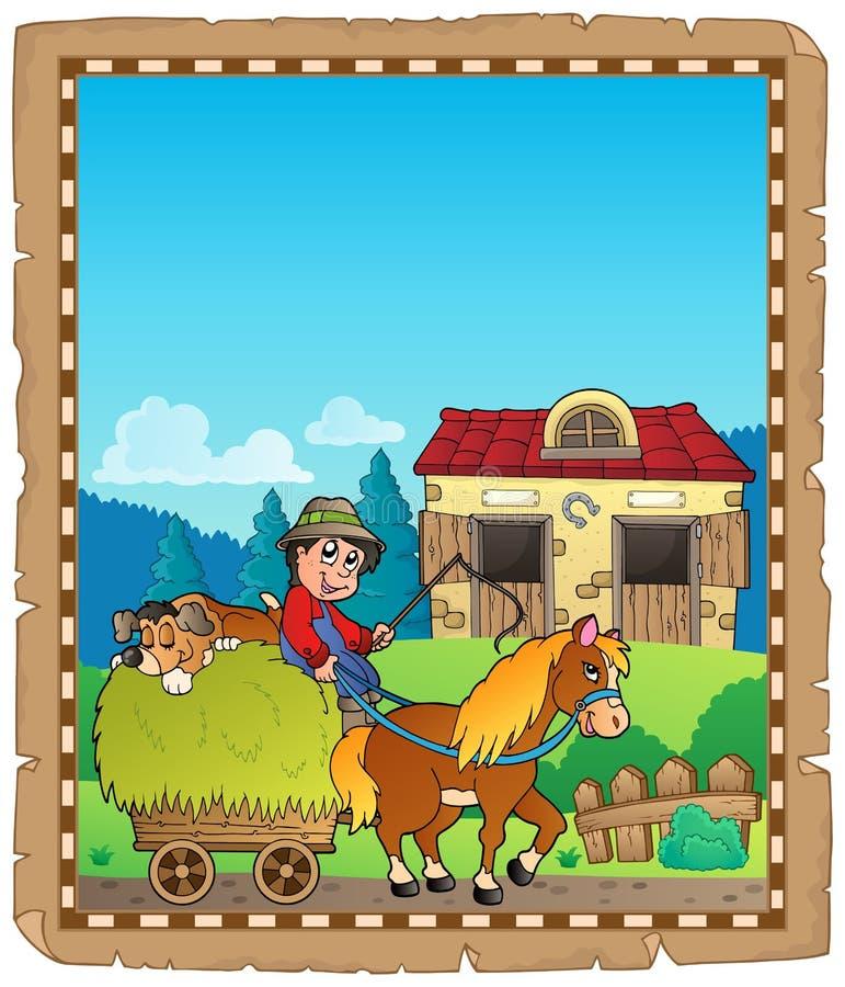 Pergaminho com o carro da equitação do fazendeiro ilustração stock