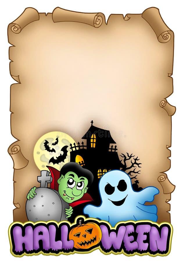 Pergaminho com tema 3 de Halloween ilustração stock