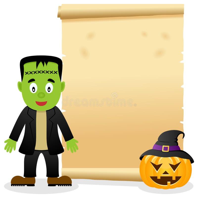 Pergaminho de Dia das Bruxas com Frankenstein ilustração do vetor