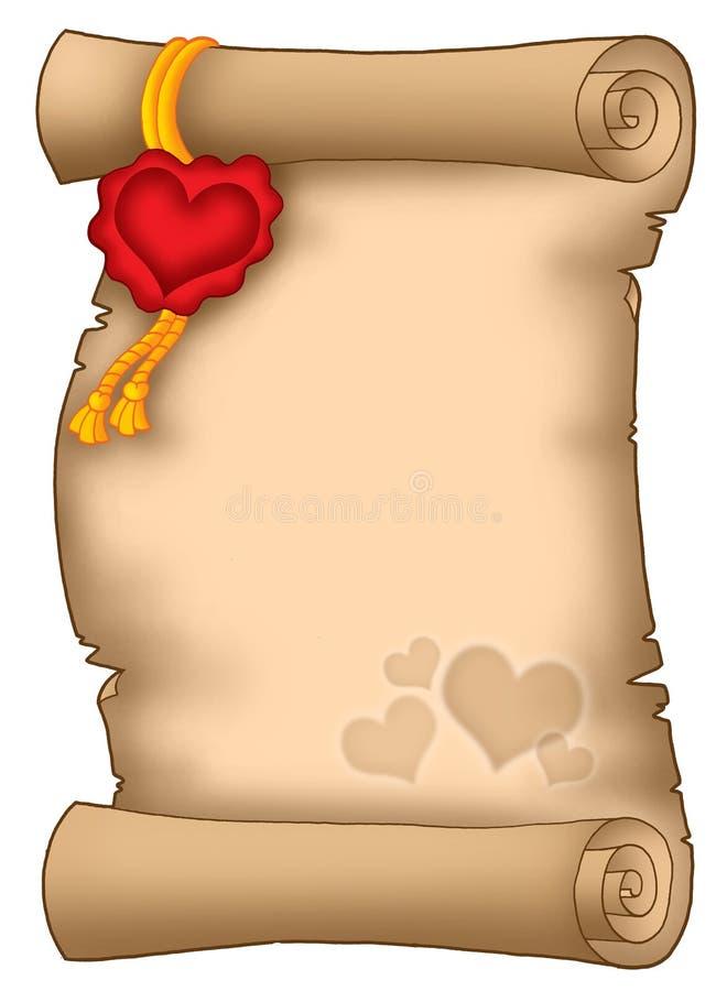 Pergaminho do amor ilustração royalty free
