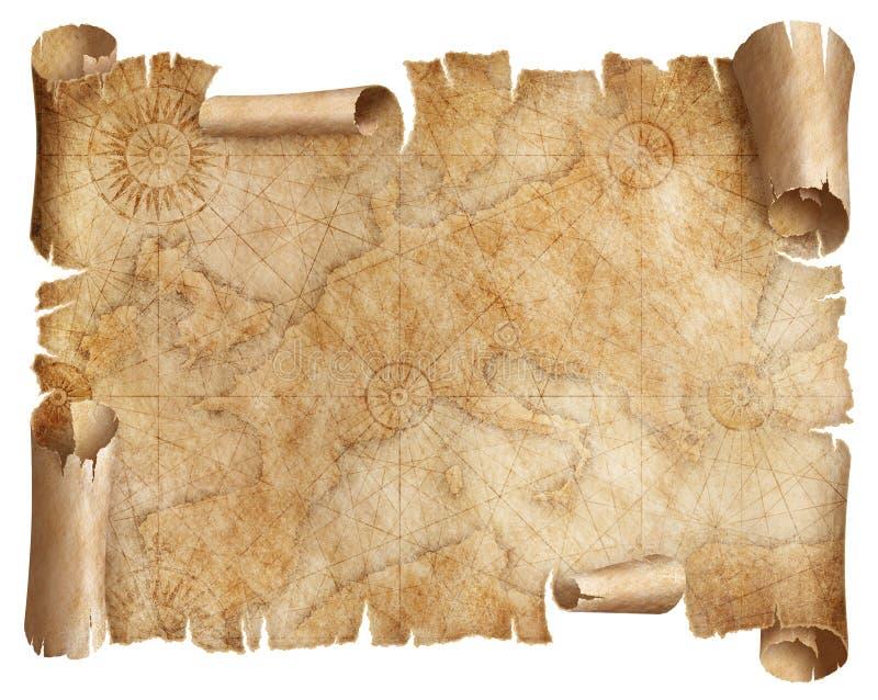 Pergaminho do mapa de Europa do vintage isolado no branco Baseado na imagem fornecida da NASA fotos de stock royalty free