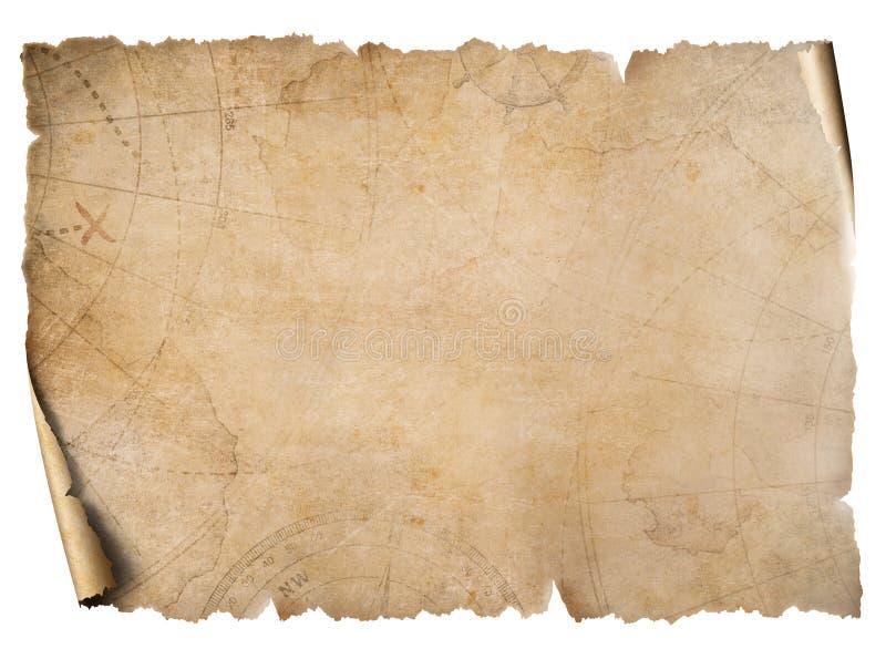 Pergaminho do mapa do tesouro do vintage isolado no branco imagem de stock