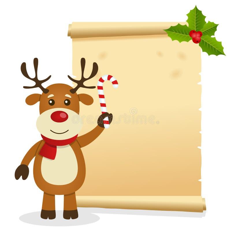 Pergaminho do Natal com rena ilustração royalty free