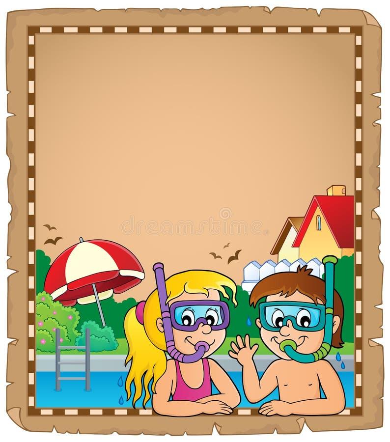 Pergaminho 1 dos mergulhadores do tubo de respiração das crianças ilustração do vetor