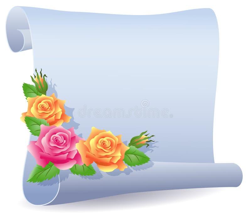 Pergaminho e rosas rolados ilustração stock
