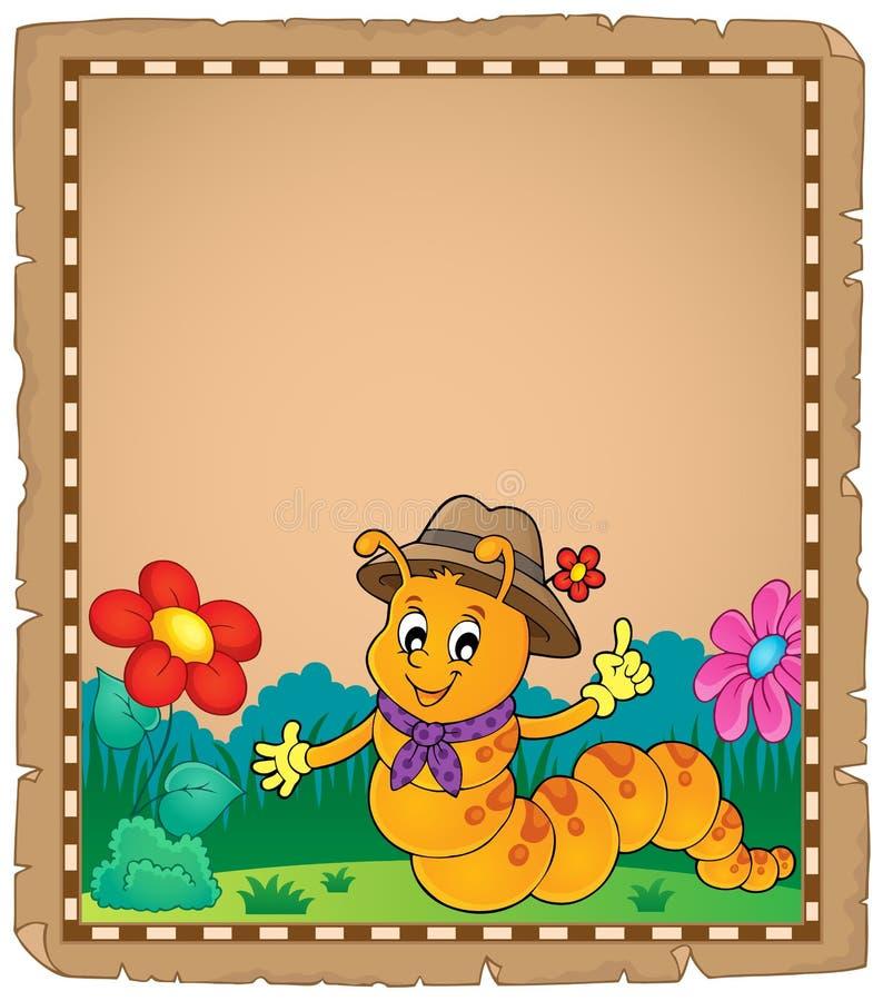 Pergaminho feliz 2 do tema da lagarta ilustração royalty free