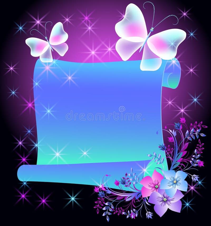 Pergaminho mágico com flores ilustração royalty free