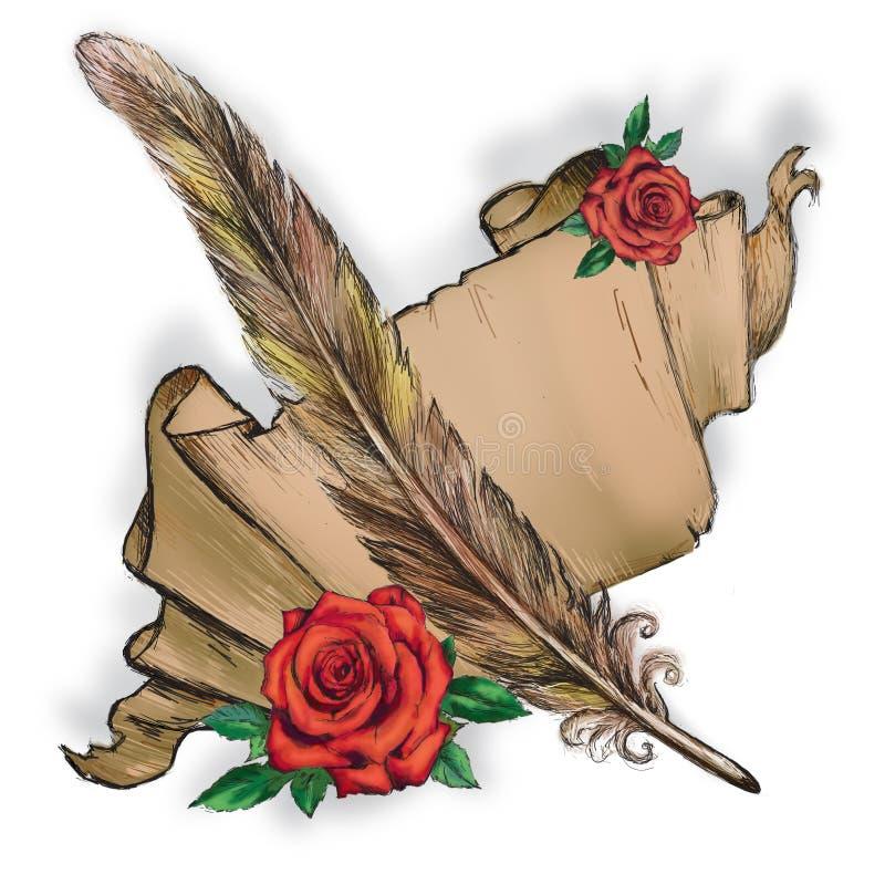 Pergaminho, pena, rosa vermelha, ilustração de papel fotografia de stock royalty free
